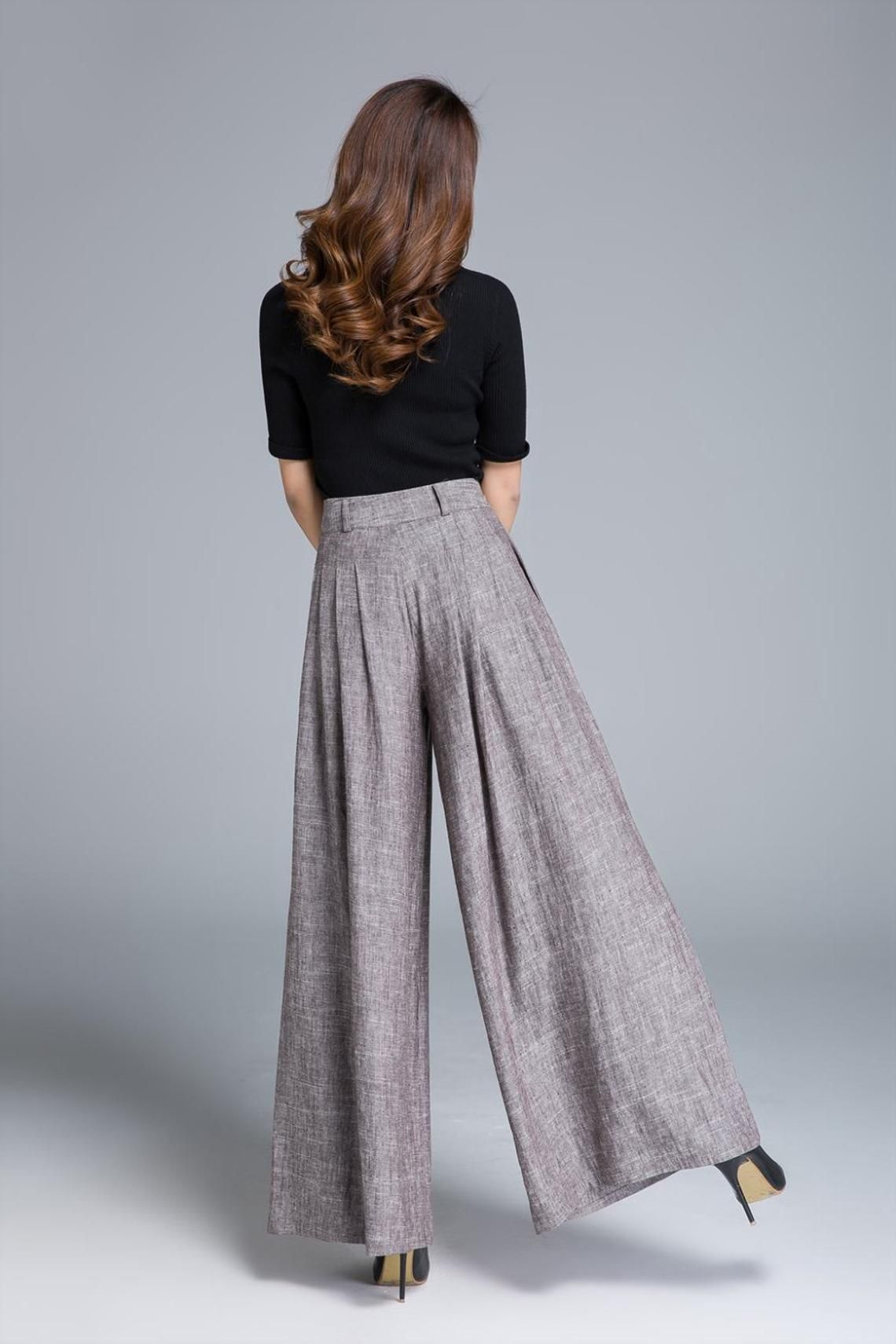 8c0d9231abd7 Palazzo pants, brown linen pants, wide leg pants, pleated pant ...