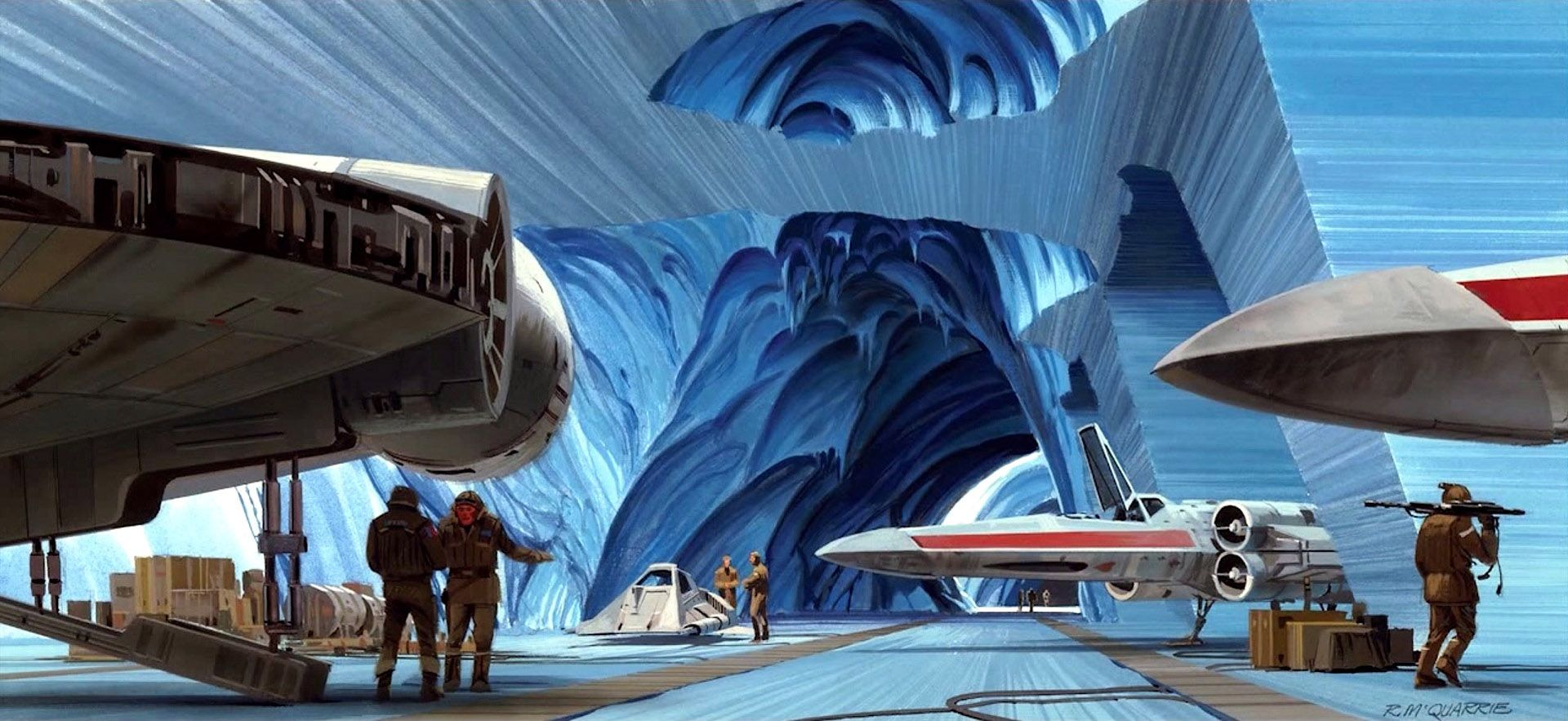 """TESB: This Ralph McQuarrie painting called """"Flight Line"""" shows a large hangar at Echo Base. The hangar itself is a large natural bubble in the ice, which has been enlarged by the Rebel troops. The hangar is designed for flexibility and serviceability."""