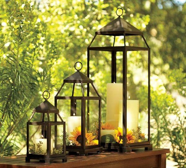 Sommer Deko Ideen Windlichter Laternen Kerzen Sonnenblumen Dekoration