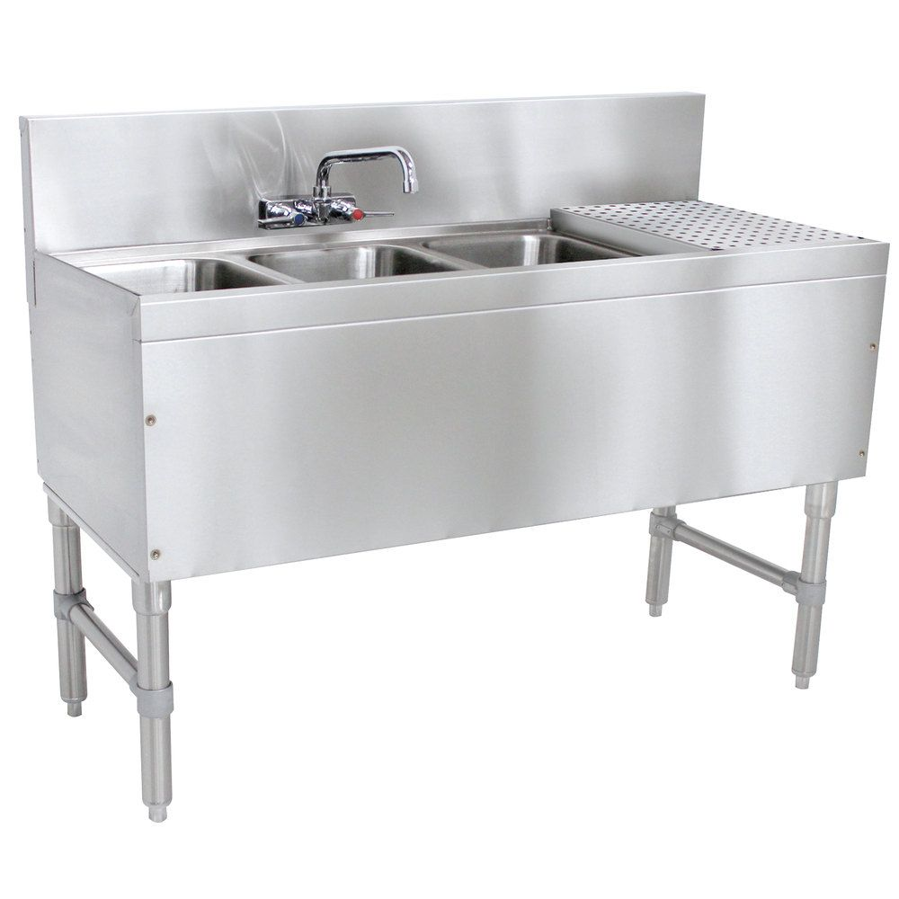 Advance Tabco PRB-19-43L 3 Compartment Prestige Series Underbar Sink ...