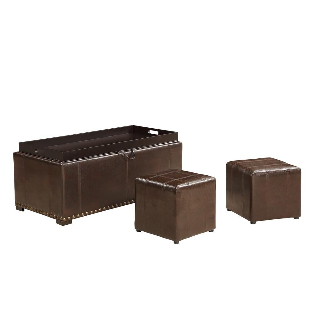 Ac Pacific Brown Leather Storage Bench With 2 Side Ottomans