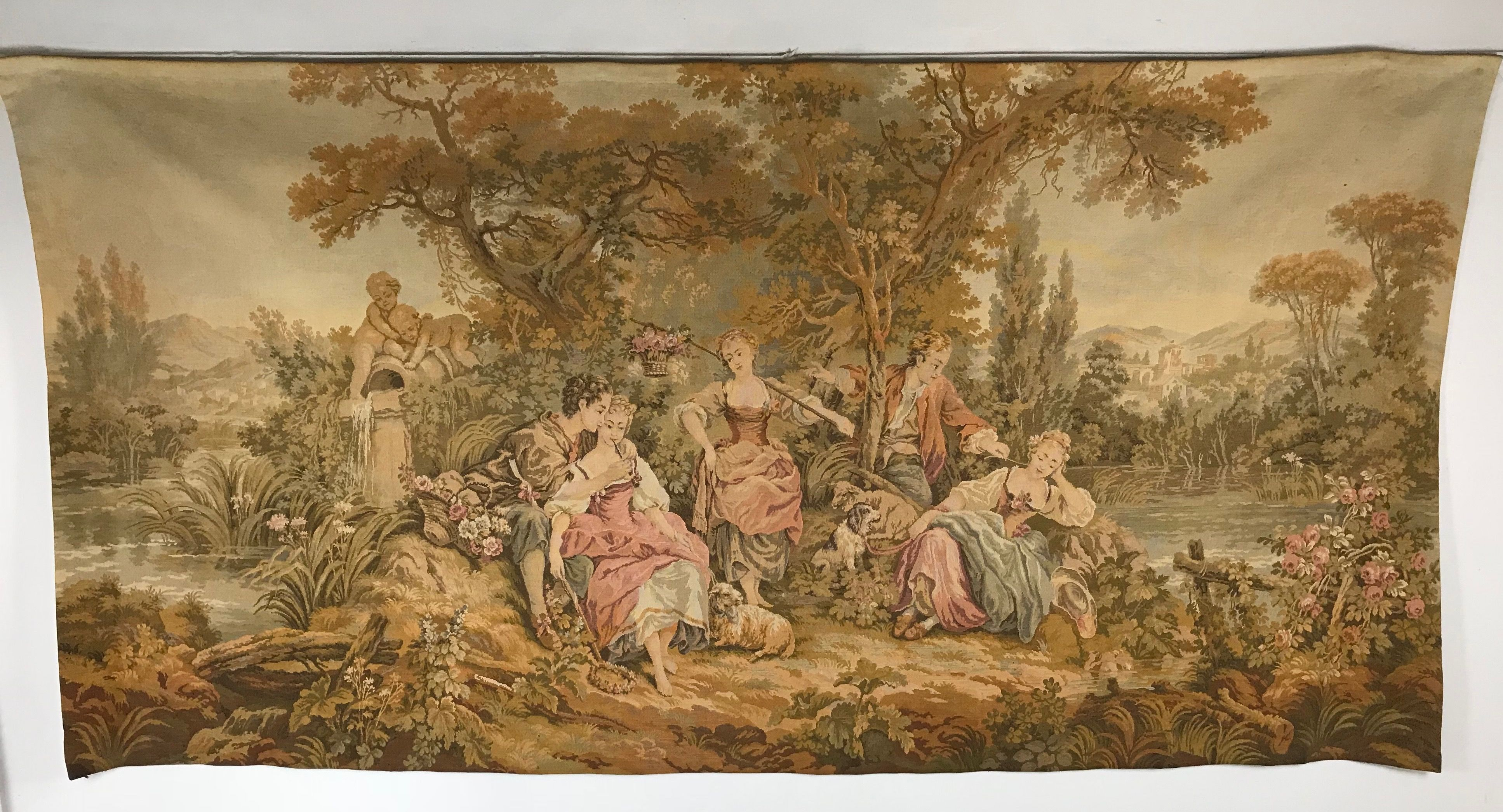 Teppiche Verkaufen Aachen French Jacquard Gobelin Tapestry Having Courting Scene Of Well