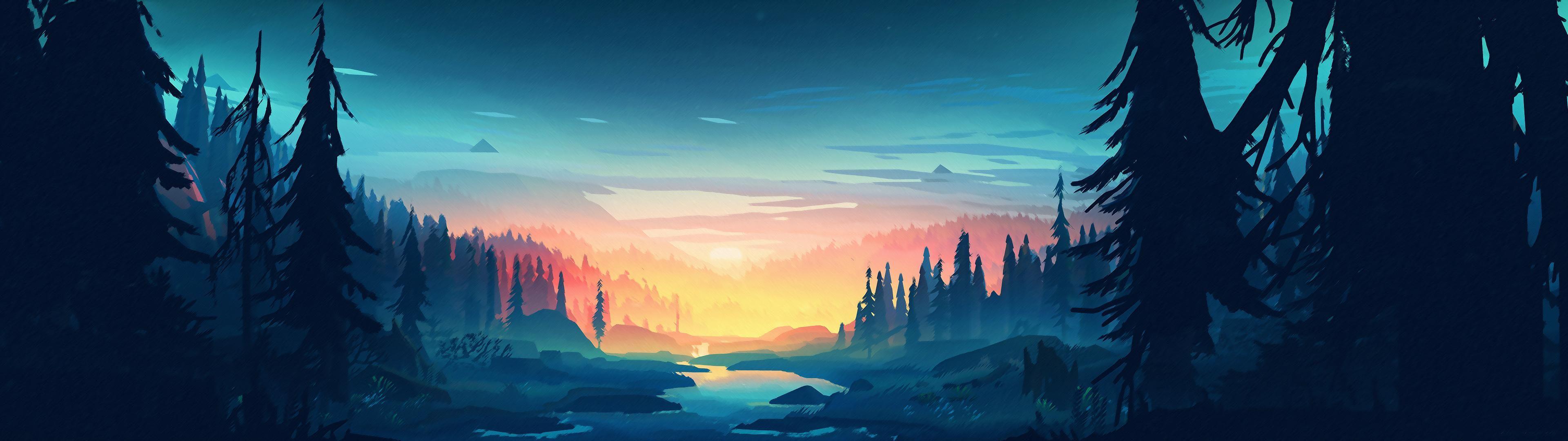 Wide Minimalistic Landscape wallpaper Landscape