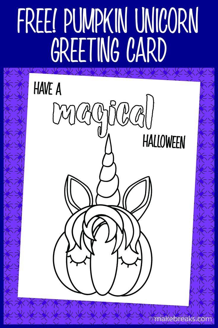Free printable Halloween unicorn pumpkin coloring card # ...