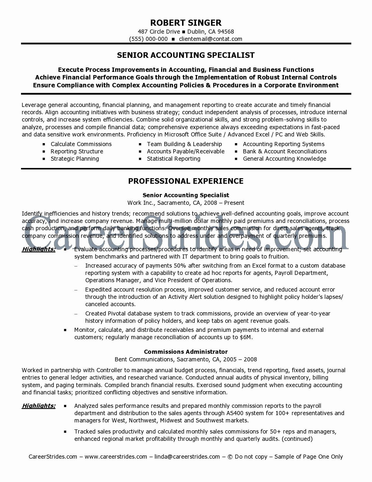 Senior accountant resume sample luxury 10 accountant cv