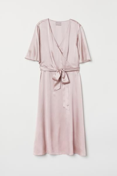 Photo of V-neck Silk Dress – Dusky pink – Ladies | H&M US