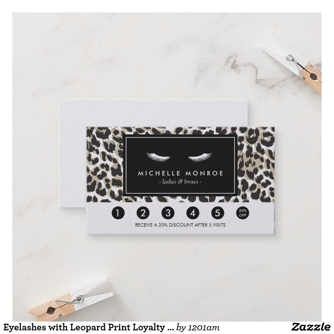 Eyelashes With Leopard Print Loyalty Punch Card Business Pinterest