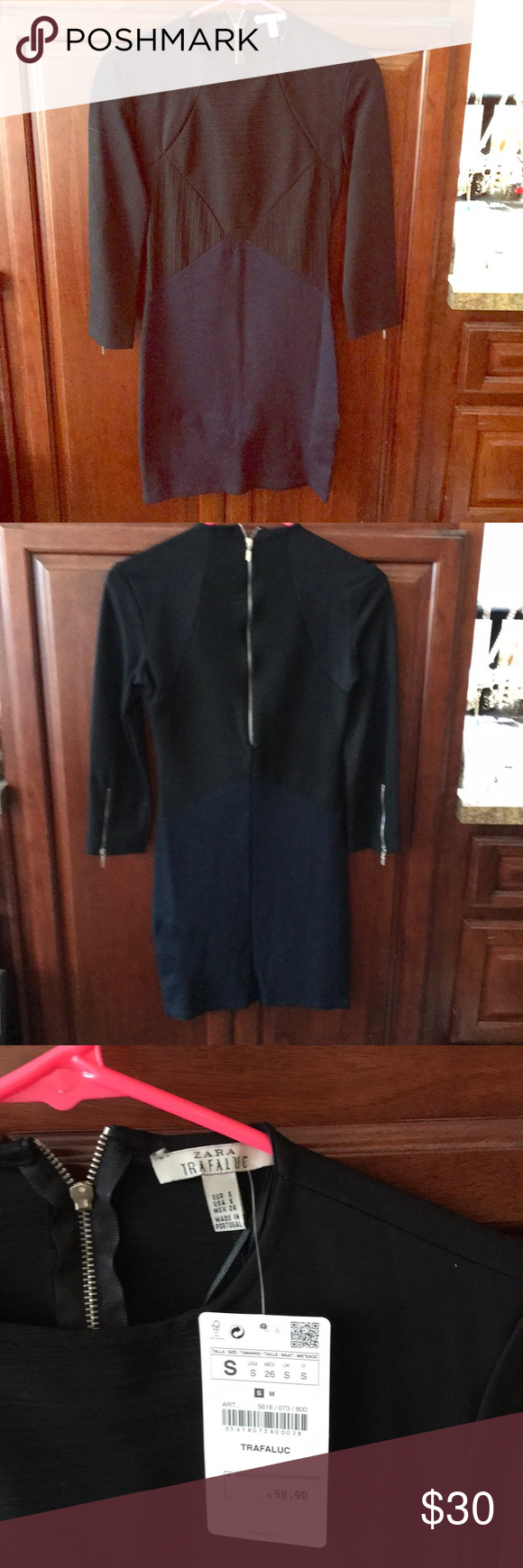 Zara long sleeve navy blueblack dress adorable dress from zara