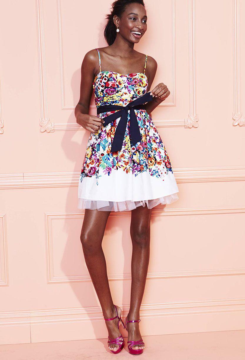 B Darlin Juniors Floral Print A Line Dress Juniors Dresses Macy S Prom Inspiration Dresses Junior Dresses [ 1222 x 833 Pixel ]