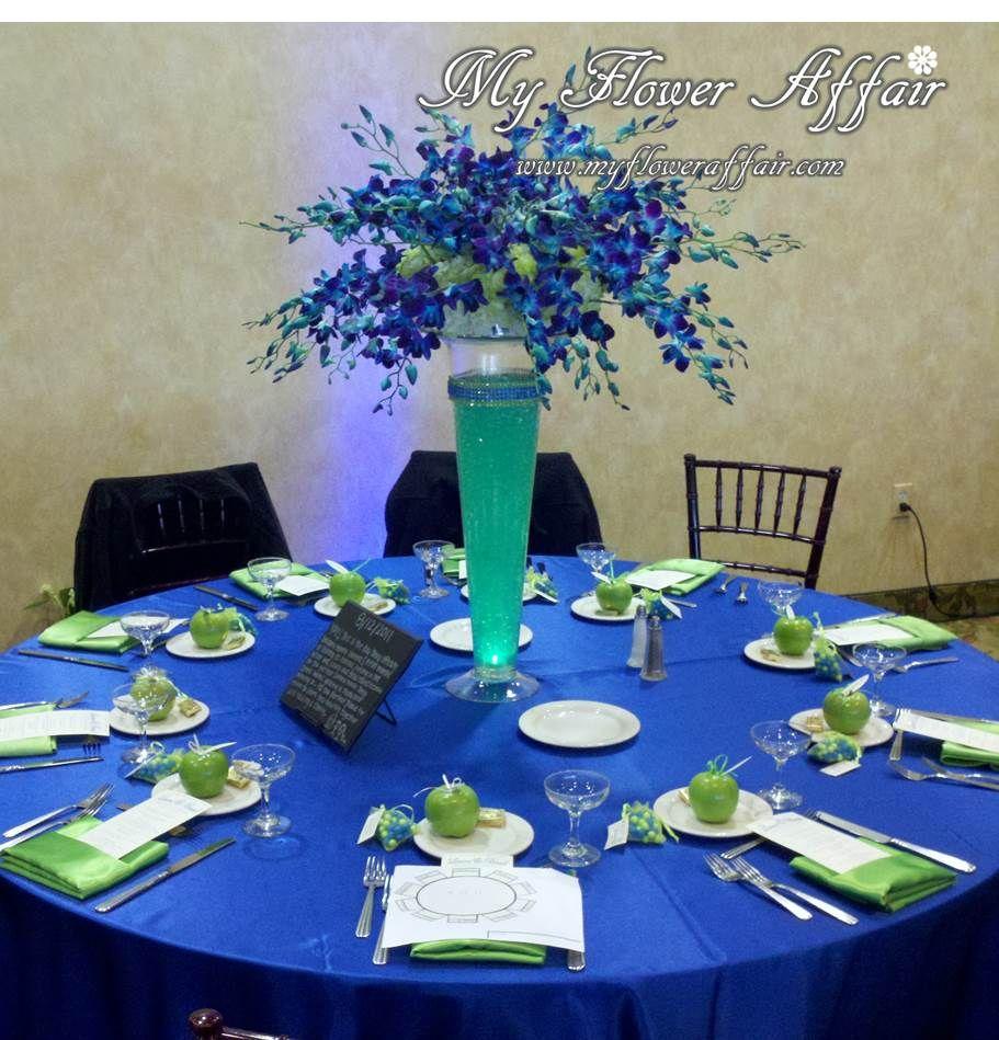 Cobalt Blue And Lime Green Wedding Flowers Custom Linens By My Flower Affair Www