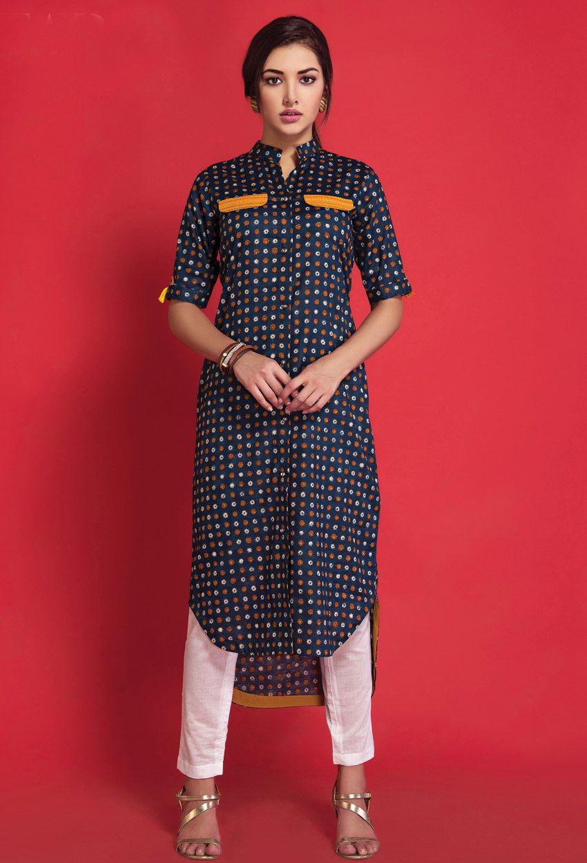 9c7acc1731df3 Readymade Black Cotton Printed Ladies Top Kurti | Long Kurtis ...