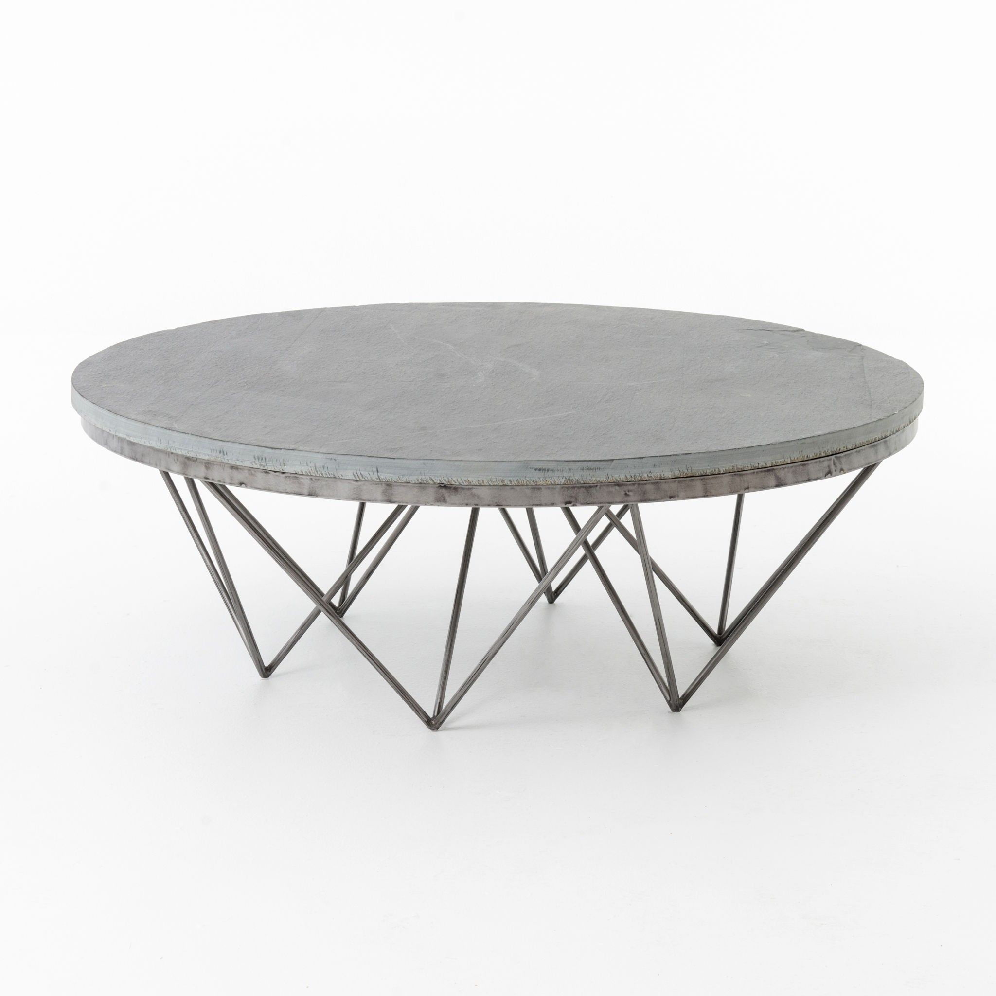 Modern Round Grey Slate Coffee Table With Geometric Metal Base Slate Is  Natural Stone Product Colors And Textures Will Vary