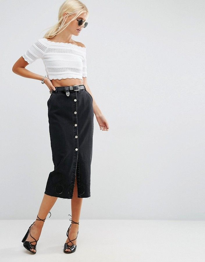 6e6170c646 Give some length to a button front skirt. So chic.
