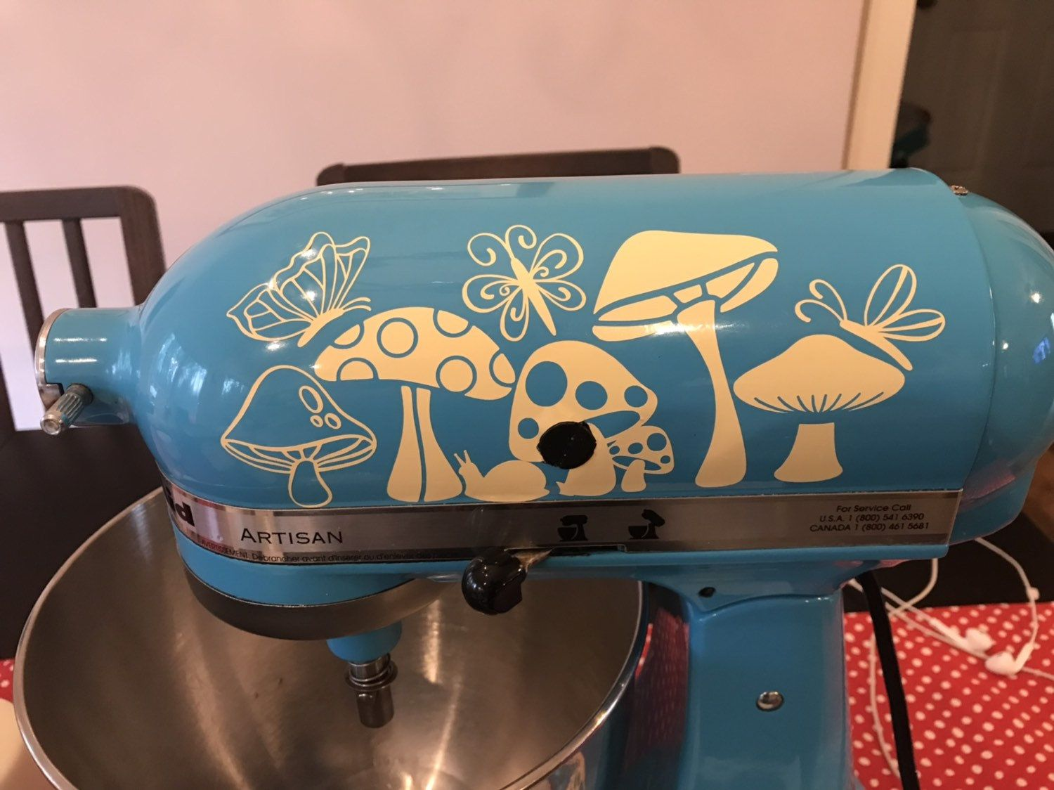 Decal kitchen aid stand mixer merry mushroom 70s 80s vibe