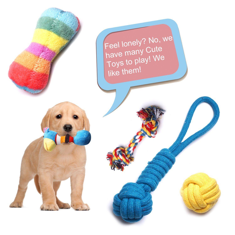 Yunkingdom Pack Of 12 Dog Rope Toys Squeaky Plush Dog Toysdog Chew