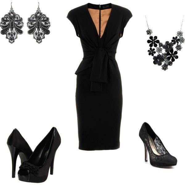 A classic black dress w/ choice of heels & accessories.