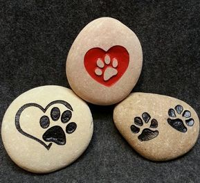 "MEMORIAL ENGRAVED 3 STONES Three 2-3"" Stones to Compliment Large Stones Memory Dog or Cat Compliment the Bigger Stones or add to your yard"