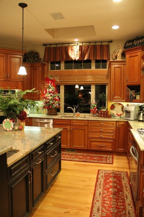 Unique Kitchen Decorating Ideas For Christmas  I Like The Island Stained A  Different Color. Need To Do This. | Texas Home | Pinterest
