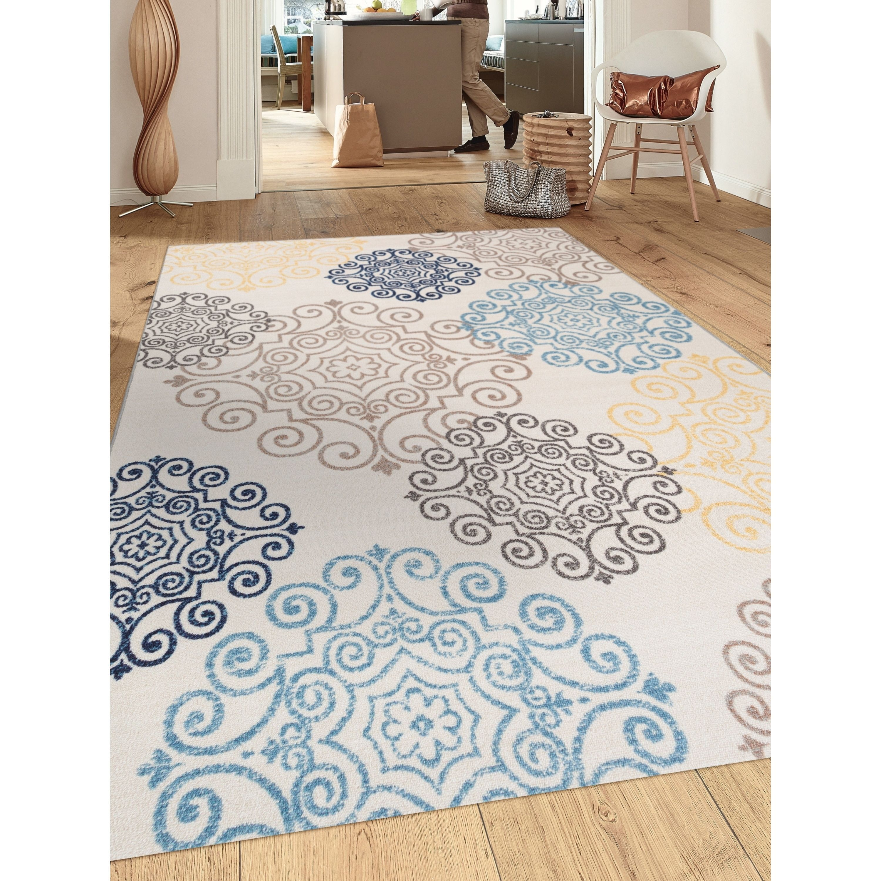 Modern beige multicolored medallion nonslip area rug 710 x 10 508 cream ivory 8x10 size 710 x 10 nylon floral