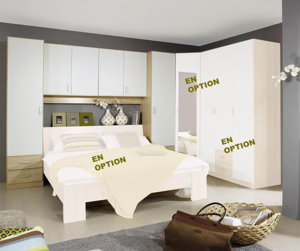 pont de lit kreta h tre et blanc sans lit armoire lit pinterest. Black Bedroom Furniture Sets. Home Design Ideas