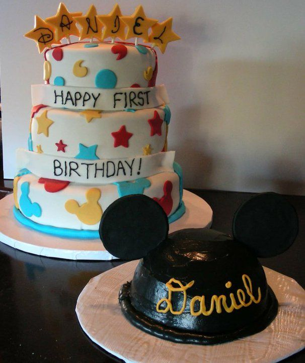Disney Boy Cake The Birthday Boys Smash Cake Is Iced With Cream