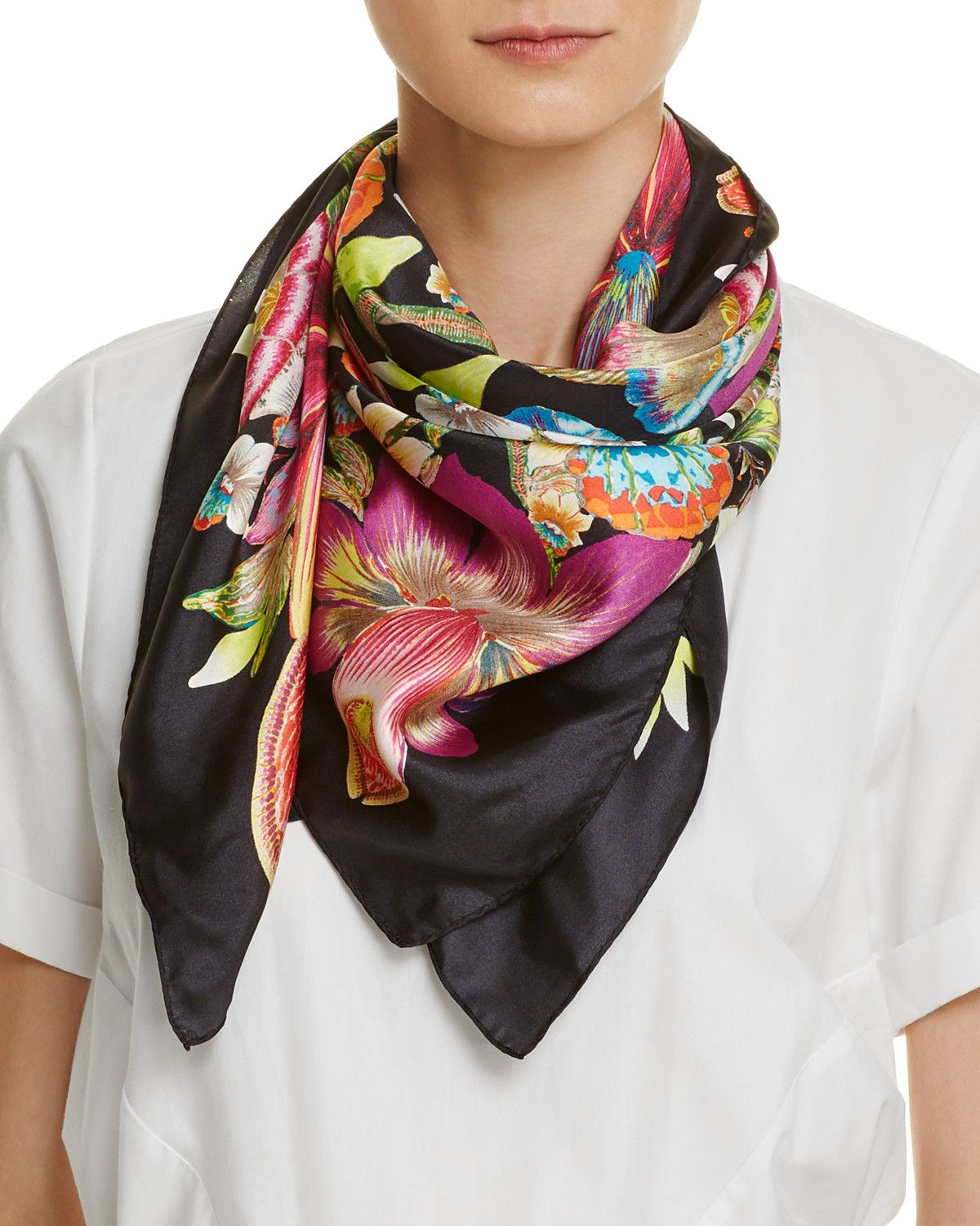 Echo Floral Silk Square Scarf Bloomingdale's Vibrant scarf
