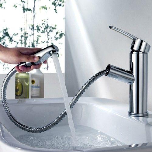 Chaf Single Handle Lavatory Faucet Pullout Spray Lavatory Faucet