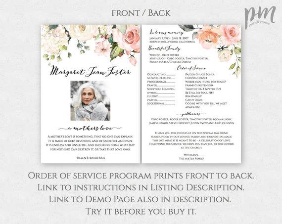 Funeral Program Template Funeral Template Program Obituary Etsy Funeral Program Template Funeral Programs Funeral Templates