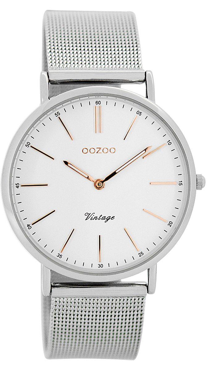 Armbanduhr damen silber  Oozoo C7396 Vintage Damen-Armbanduhr Weiß/Silber 36 mm   Uhren ...
