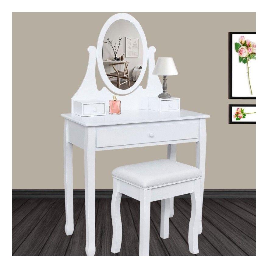 Coiffeuse Table De Maquillage En Bois Blanc Avec Miroir Et Tabouret 12601 Table Maquillage Coiffeuse En Bois Coiffeuse Meuble