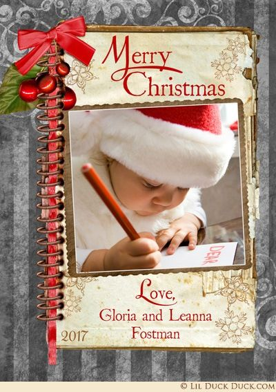 Silver-Gray Classic Old-Fashioned Christmas Cards