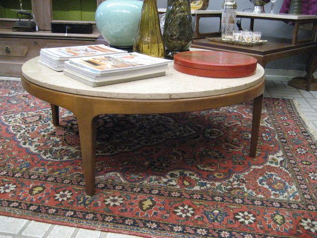 Coffee Table Mid Century Walnut And Travertine Round By Lane Contemporary Living Room Tra