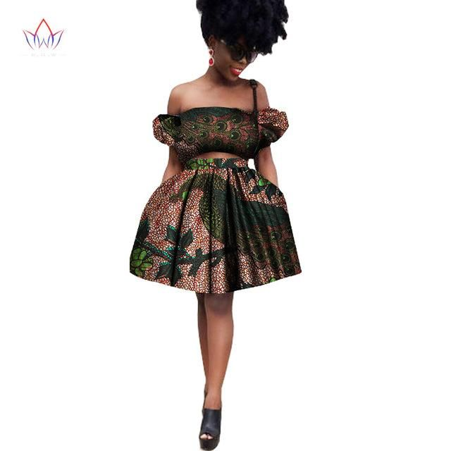 African Two Piece Set, Crop Top and Skirt