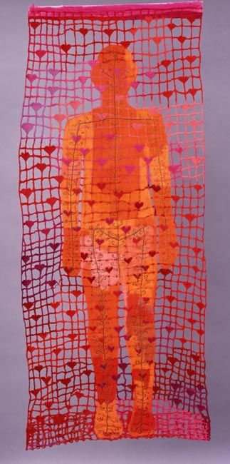 Ulla Pohjola / 46 hearts / 1993 /   machine embroidery, dyeing. For more fiber art content, join the FiberArtNow.net tribe.