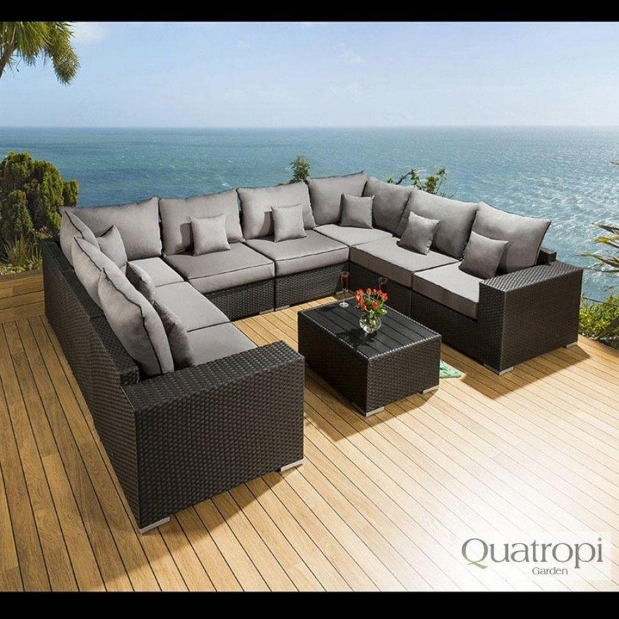 Large Luxury U Shape Outdoor Sofa Group 6 Seat Black Rattan/ Grey