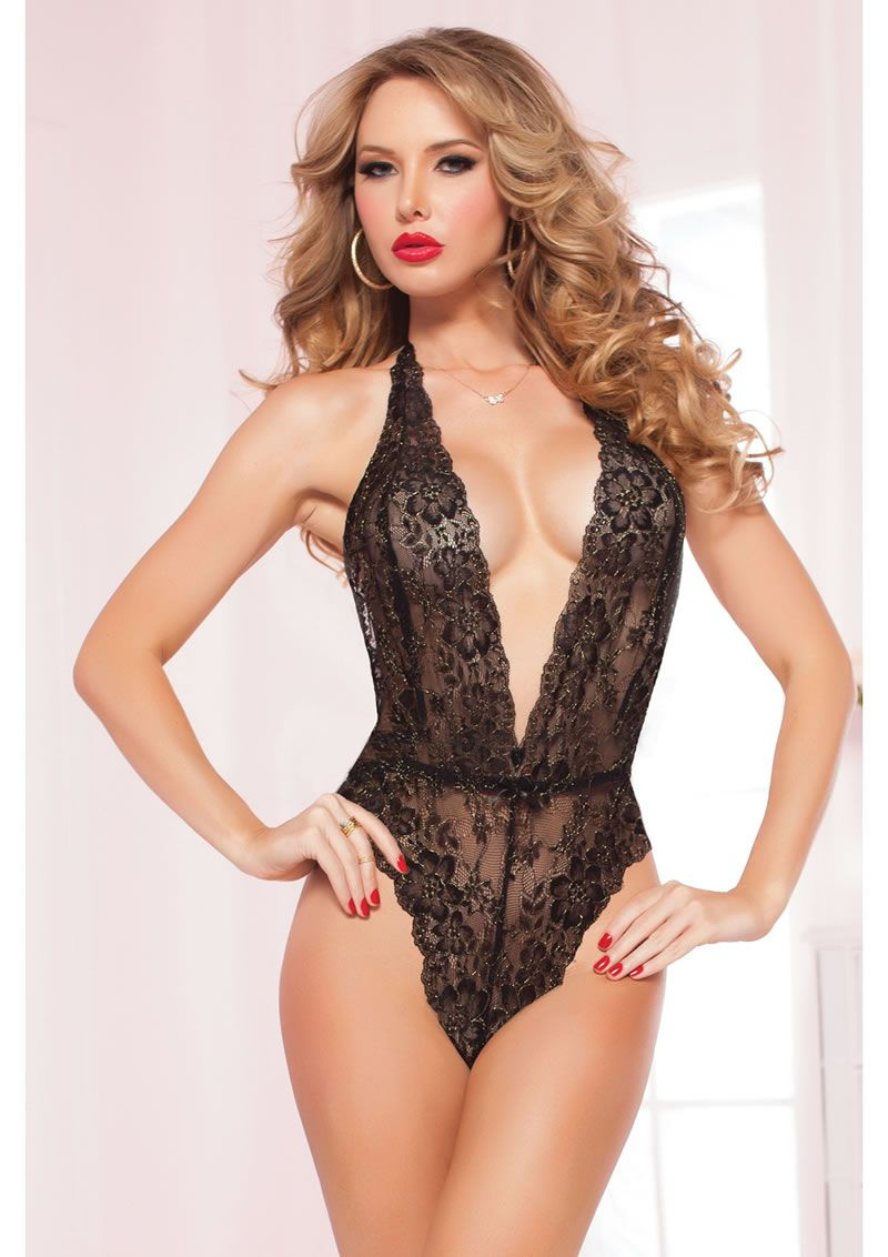 576c2e34250e0 Slip into this beautiful lace teddy with a sexy plunging neckline ...