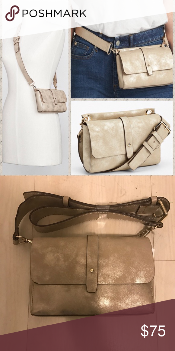 NWT Zara Champagne Genuine Leather belt bag Love this bag! Can be worn as a  crossbody or belt bag or mini clutch. Adjustable strap that is removable. 7953b83d05