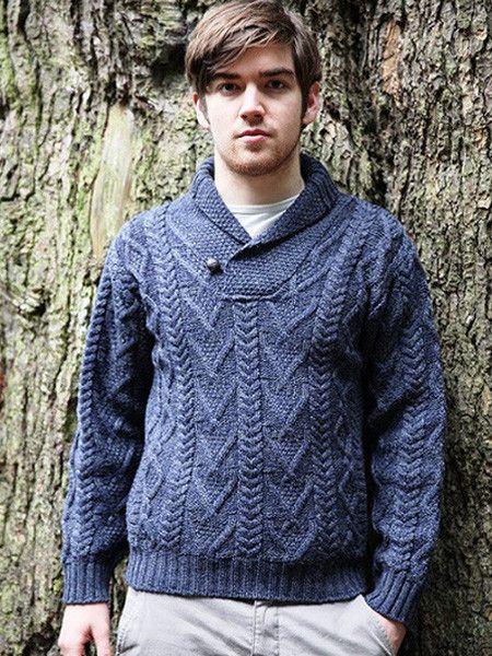 Mens Aran Wool Sweater V Neck Winter Jumper Irish Sweaters