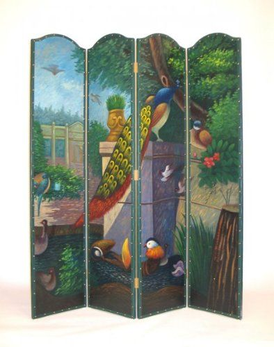 Peacock Hand Painted Room Divider Dressing Screen Peacock Decor