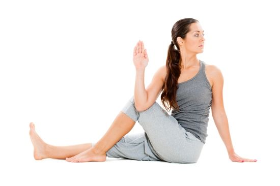 Katie Picha- This is Marichyasana III.  I learned this pose on Week 2 Day 13.  It is a very good pose for stretching.  It is also good for calming and relaxation.  I had never seen it before, but am excited to try it.