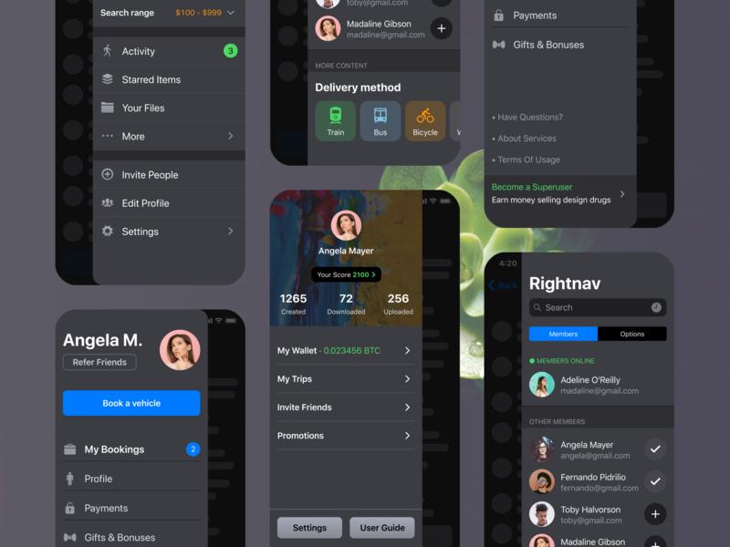 Ios Patterns Side Navigation Drawer Bar Navigation Design Navigation Mobile App Design