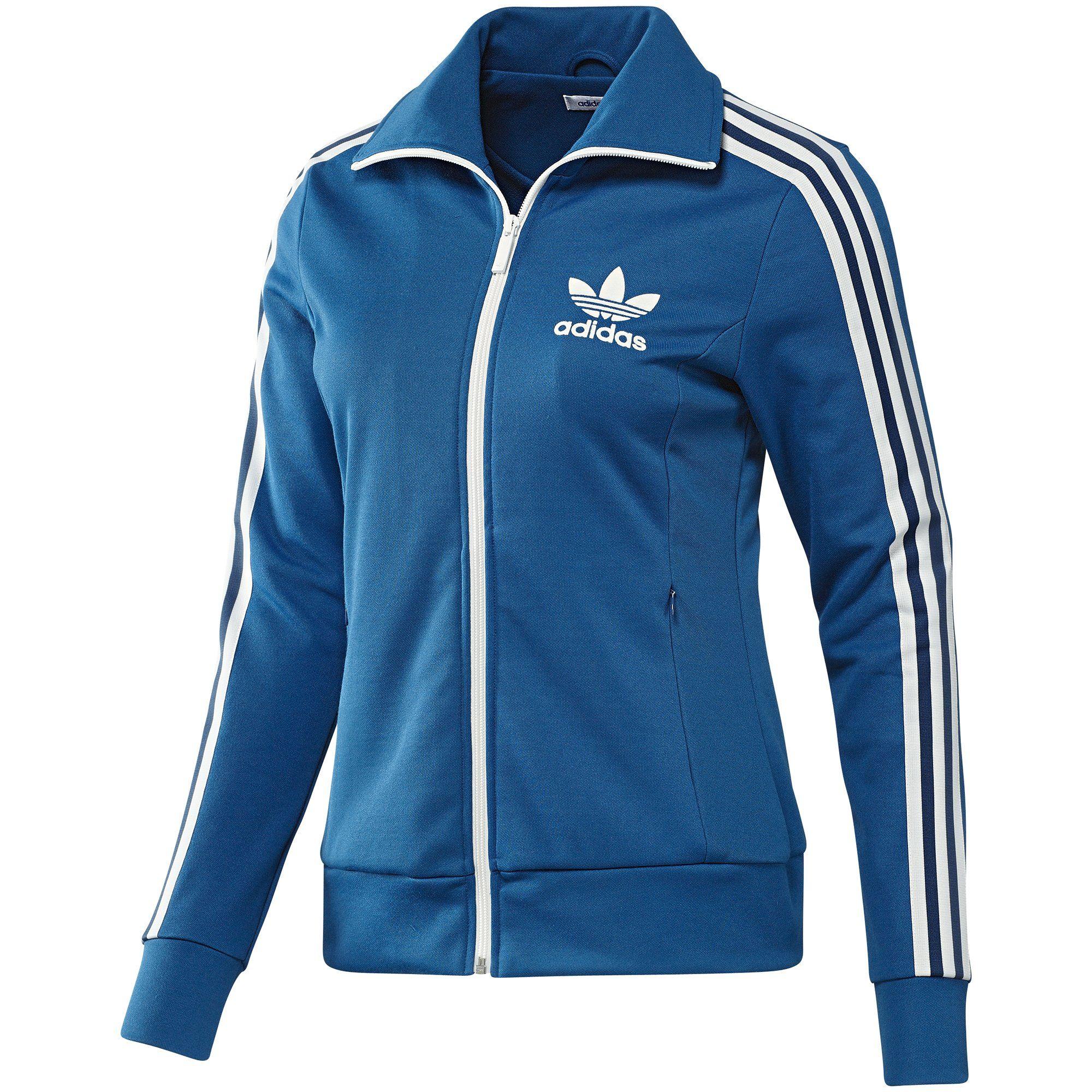 Women's Europa Track Jacket, Dark Royal Running White