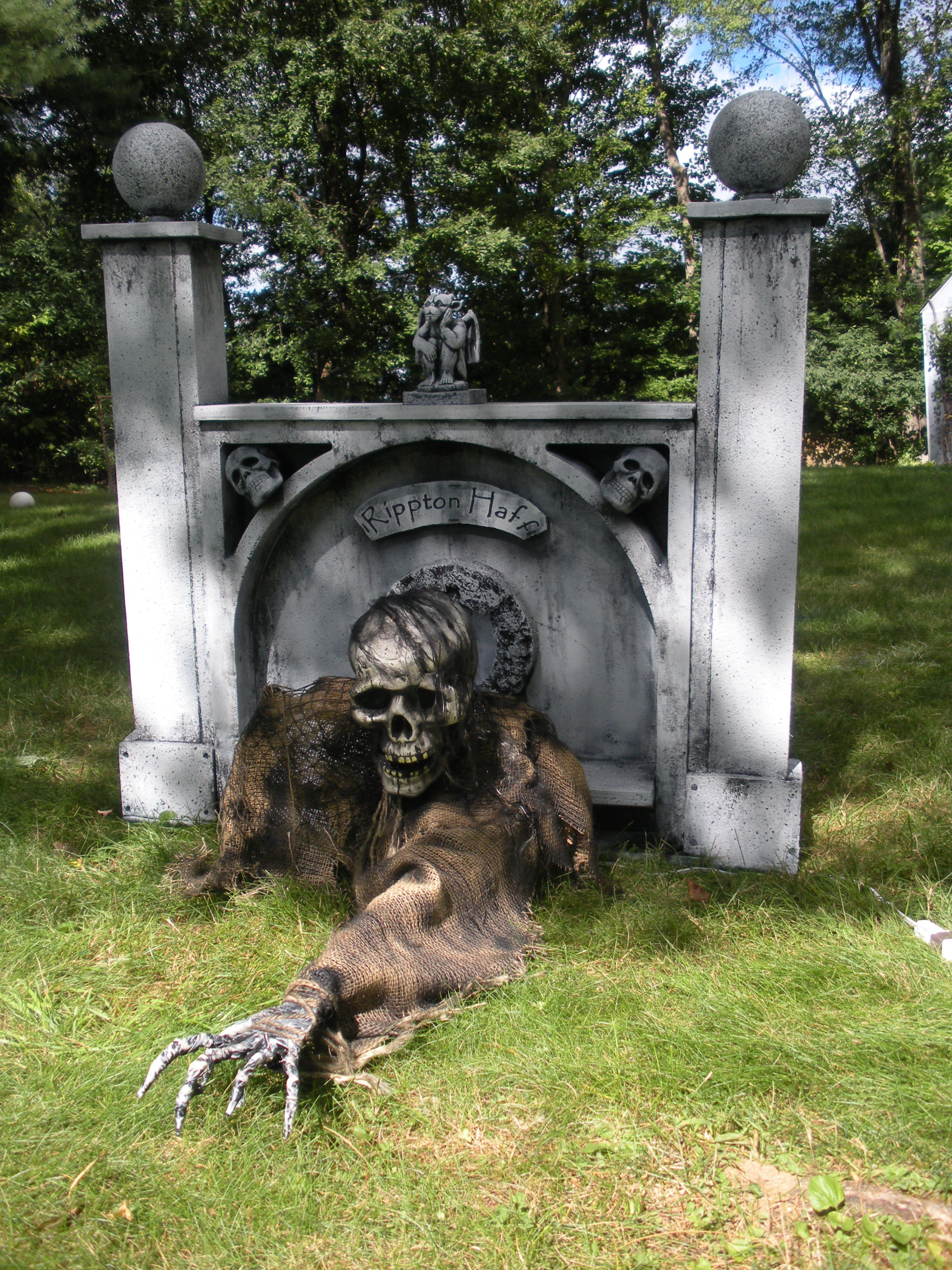spooky halloween prop tutorials one armed grave grabber foam tombstones boneyard bbq - Scary Halloween Decorating Ideas For Outside