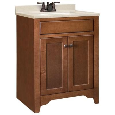 Hudson 24-5/8 in. W x 18-1/2 in. D Vanity in Cognac with Solid Surface Vanity Top in Hazel