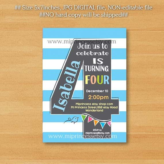 Birthday Party First 2nd 3rd 4th 5th 6th 7th Invite Card 614A