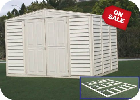 Duramax 10 5x8 Woodbridge Vinyl Shed W Foundation Kit 00224 1m Vinyl Sheds Vinyl Storage Sheds Shed Storage