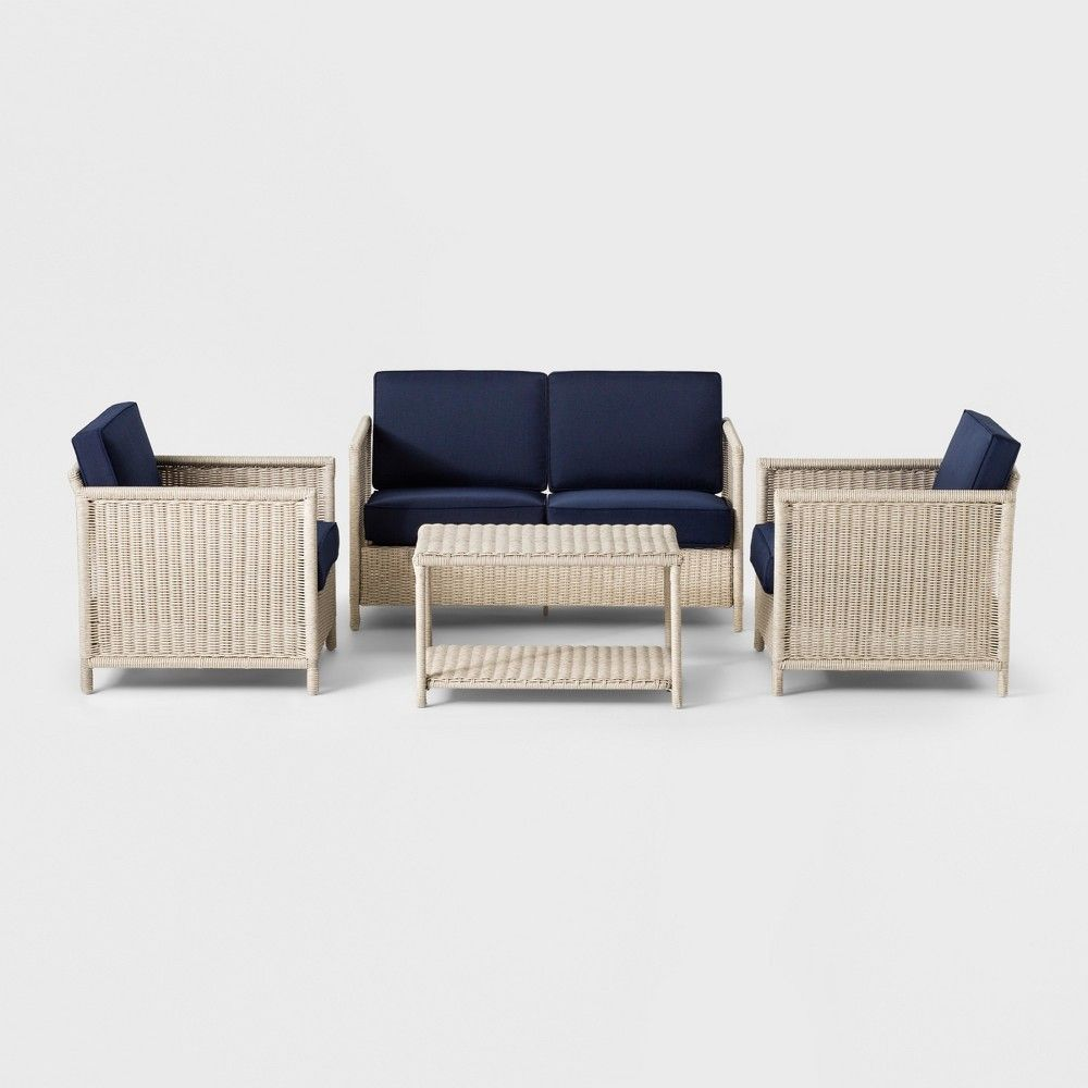 Monroe 4pc Patio Conversation Set Navy Threshold Blue Patio Furniture Sets Outdoor Furniture Sets Patio Loveseat
