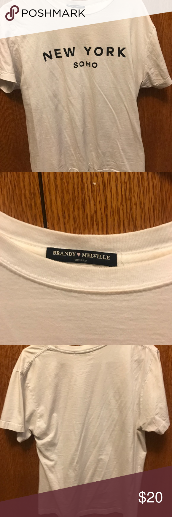 Brandy Melville Soho Tee Simple NY Soho tee, gently worn. No flaws. Size is one size but would probably best fit small or medium Brandy Melville Tops Tees - Short Sleeve