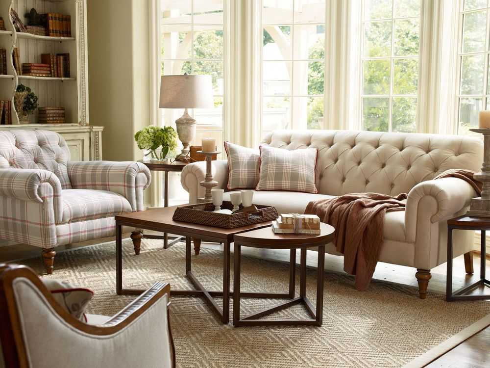 Richmond-traditional Tufted Fabric Sofa Set Couch & Chair Living