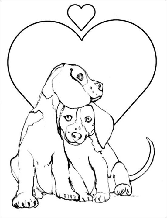 Dog Coloring Pictures Printable Page A Couple Of Beautiful Dogs